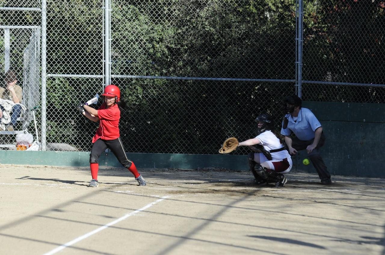 Castilleja Softball 1/ 4000s, at f/4    E.Comp:0    125mm    WB: AUTO 0.    ISO: 800    Tone:     Sharp:     Camera: NIKON D300on: 2009:03:19 16:49:08