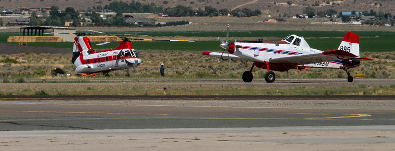 Bison Fire Saturday July 6, 2013 (4802) Fire helicopter and portable Single Engine Air Tanker (SEAT) base at the Minden-Tahoe Airport