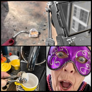 M is for Making...a picture, a cafe, and a funny masked face