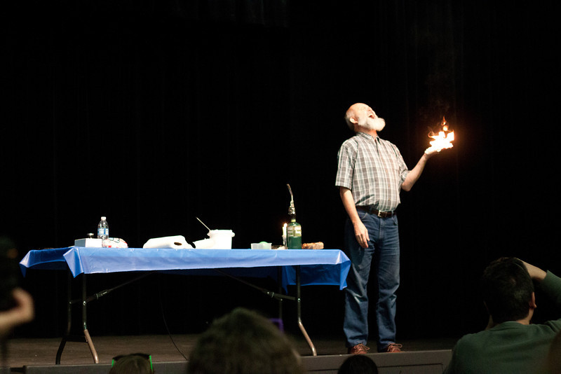 "Day 082 The Happy Scientist at the VaHomeschoolers conference <a href=""http://vahomeschoolers.org/conference/"">http://vahomeschoolers.org/conference/</a> acting like he's in a movie, with stunt gel and a fire on his hand, and demonstrating energy transformation.  :D"