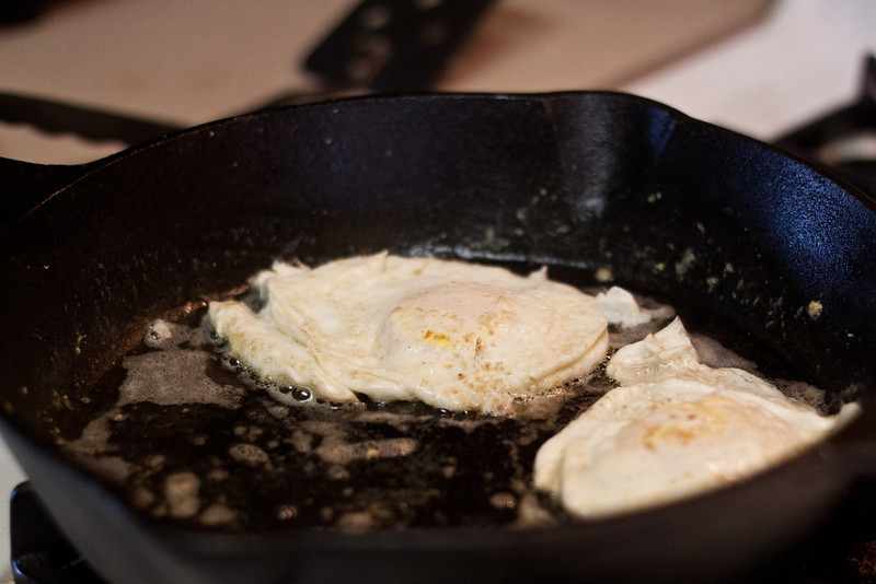 Day 094 Fried Eggs -- Last week I bought myself my first cast iron pan. Cooking in it is going well. Here's my daughter's breakfast this morning.
