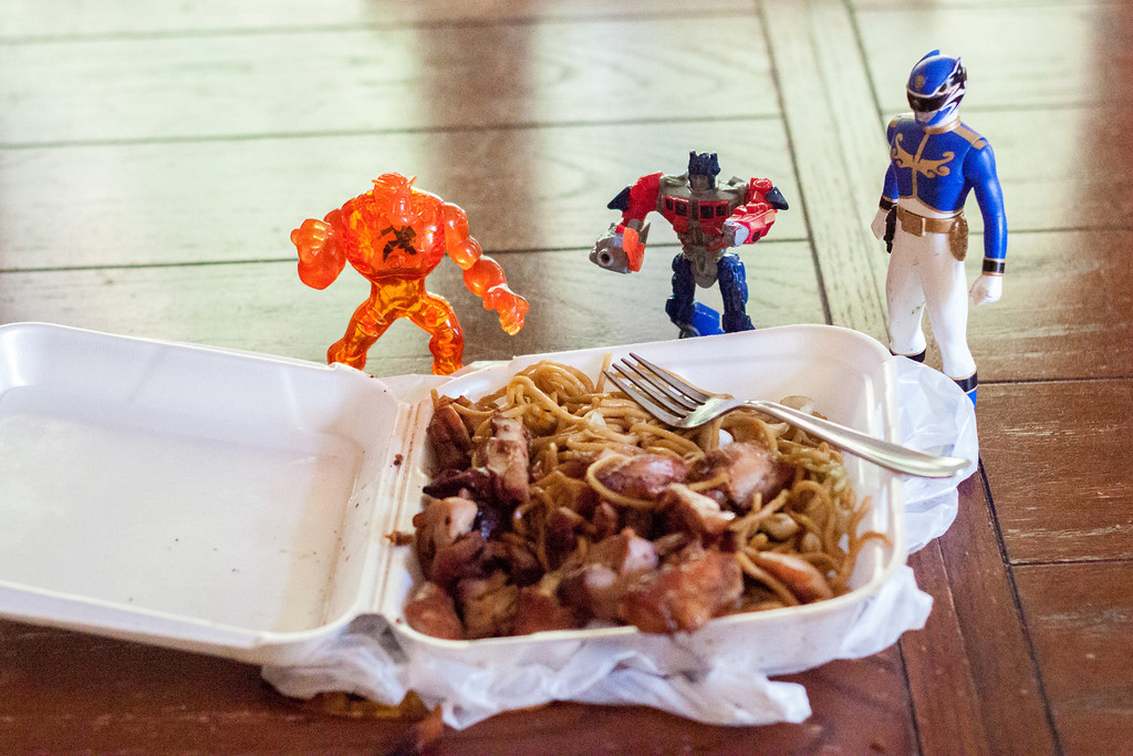 Week 25 {food} Three guys are guarding my son's dinner.