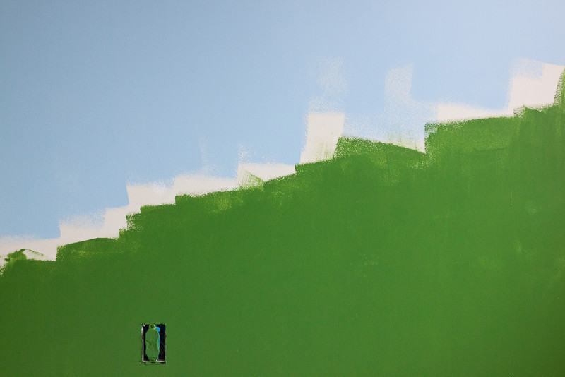 "Week 13 {colors}  I have moved on to painting Ian's room. We've got some Mario decals and we're going to recreate a scene from the video game on his walls. So this is green grass and blue sky. I painted this first coat yesterday and will be painting the second coat and smoothing out the ""hills"" today. Happy Easter, Happy Spring, etc!<br /> <br /> Go on the blog circle at <a href=""http://michelepixels.com/2013/03/31/project-52-week-13-colors-paint-colors/"">http://michelepixels.com/2013/03/31/project-52-week-13-colors-paint-colors/</a>"
