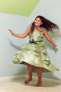 Caroline Twirling in A Green Dress