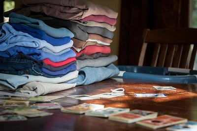 Folding Laundry and Organizing Pokemon Cards