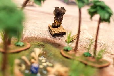 Burning German Tank from Flames of War Game
