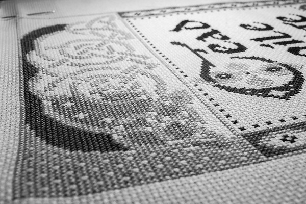 Week 7 {Black & White Close-Up}  Current Project: Cross Stitching Cead Mile Failte (100 Thousand Welcomes)