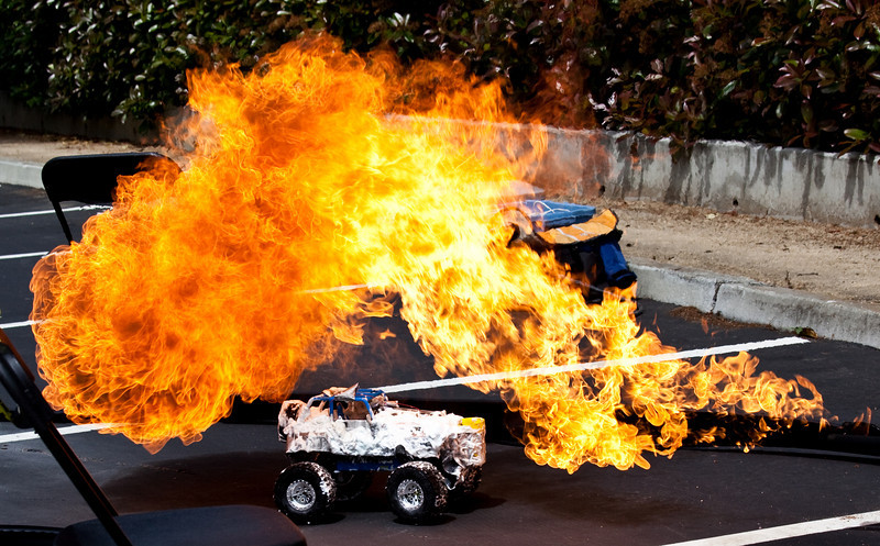 """May 5, Menlo Park, CA: Most of the time we build things at work.  But sometimes we drive cars around and light them on fire ( <a href=""""http://www.danaseye.com/gallery/8119906_hw8Mq"""">http://www.danaseye.com/gallery/8119906_hw8Mq</a>).  I work at such a fun place.  I actually really love being at work.  I am never in a meeting that isn't relevant.  Decisions come out of almost every interaction.  It seems like a highly functional place to have a job.  <br /> <br /> I was also looking at my last few posts, and noticing, for the first time, that they are all monochromatic.  Someone yesterday sent me a message saying how much emotion is capture in what I shoot.  Last week someone told me something similar.  I wonder how much I communicate just via images alone.  And whether or not it impacts my ability to put my own emotions aside long enough to make sure they don't seep out, for instance when I am shooting a happy occasion but in a very foul mood.  Or maybe I should try to focus on working through my foul moods..."""