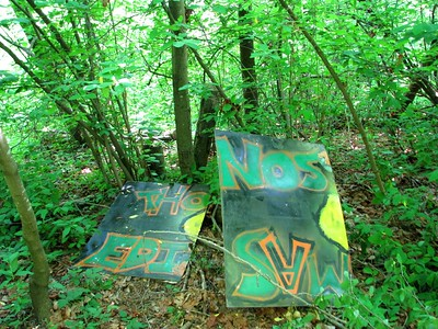 Thonos Edisvw  A cryptic message left in the woods, probably by inmates at the local educational institute.