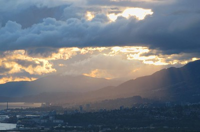 God beams over North Van  There were some nice dark clouds hanging over the North shore mountains this evening.