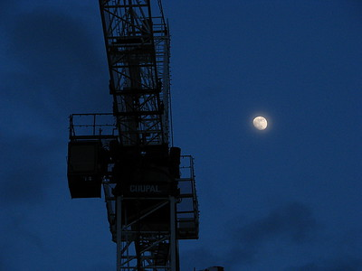 Composition with Crane and Moon