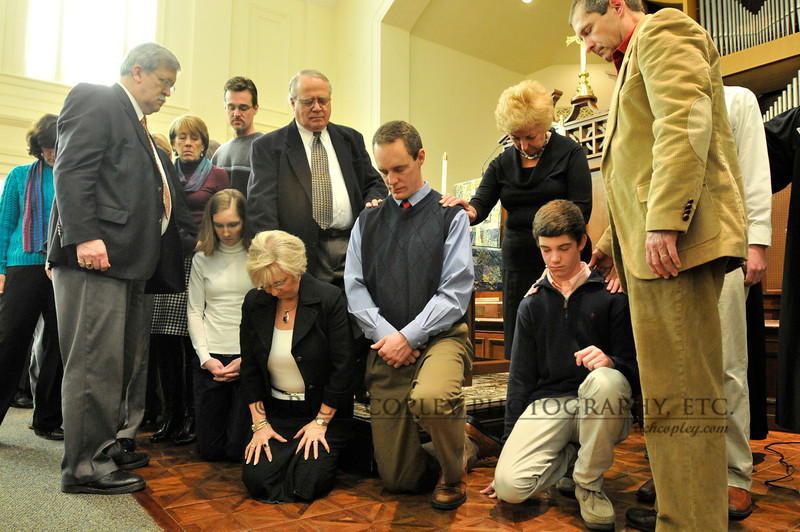 Jan. 15, 2012 - The service of ordination and installation for new elders and deacons is always a moving day at Maxwell Presbyterian. The challenge is to capture the moment without intruding on it, so this was one of the few shots I took during the actual laying on of hands. (31/366)