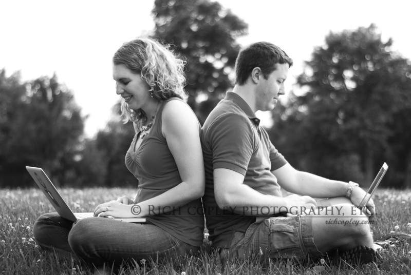 June 16, 2012 - One of the ideas I wanted to play with on Kimberly and Landon's engagement shoot was that they met online. This sort of resonated with me since Kate and I met through the 1990s version of online matchmaking, the personals. So, they brought along their matching Macbooks and I asked them to remember those first connections they made - yes, sometimes we ask for acting on photo shoots. (184/366)