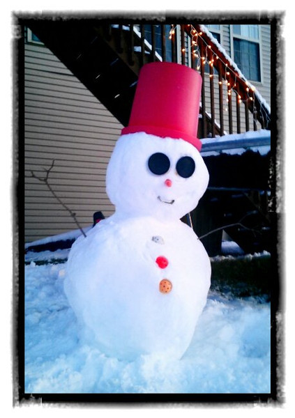March 5, 2012 - I took a bunch of snow pictures today, but the last one of the day has to be my favorite. It's Chris's snowman out by our back deck. this was taken with the Vignettes app for Android on the Velvia n my favorite Fuji slide film - setting. (80/366)