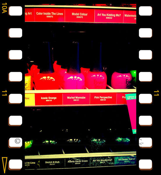 Sept. 24, 2012 - So, you're a dad, a dude, trapped in Sally Beauty Supply with your teenage daughter. If you are also a photo phiend and you have a versatile cameraphone ap, it seems like a good time to put it in high-saturation mode and take pictures of nail polish. (284/366)