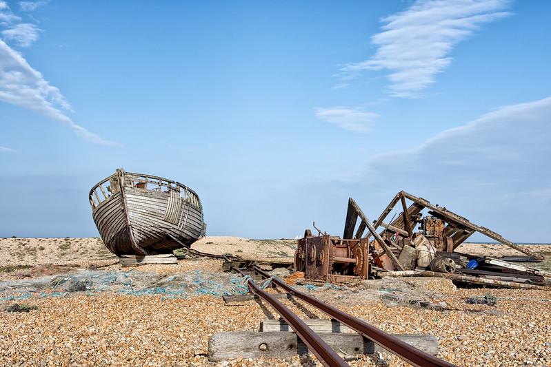 Dungeness Beach  abandoned fishing boat
