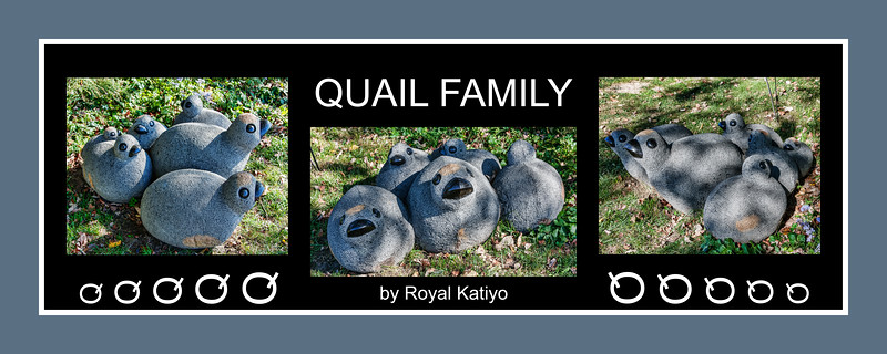 Alphabet Challenge:  Q – Quail Family sculpture