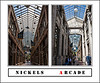 "Donna's Alphabet Challenge:  A (July 14, 2013)<br /> <br /> A :  Arcade - A roofed passageway or lane, especially one with shops on one or both sides<br /> <br /> Nickels Arcade, built in 1918, is a landmark among the commercial buildings that surround the University of Michigan's Central Campus.  It connects State Street and Maynard Street, with its east entrance opposite the intersection of North University and State Street.  It has always been home to a variety of specialty shops.  A few of the ones that were there when I was in graduate school are still in business in the Arcade.  Over the years I have spent happy times shopping and window shopping in the various stores along this walkway, as well as sheltering from sudden storms, or from bitter winter winds.<br /> <br /> These two views were taken minutes apart on July 12, 2013.  The left side is the view facing eastward, toward State Street.  Obviously then, the right side is the west-facing view.  For views of the separate images in this montage, as well as other views of Nickels Arcade, see here:  <a href=""http://arctangent.smugmug.com/Places-Near/Ann-Arbor-Locales/Nickels-Arcade/30529491_ShbdMF"">http://arctangent.smugmug.com/Places-Near/Ann-Arbor-Locales/Nickels-Arcade/30529491_ShbdMF</a> ."