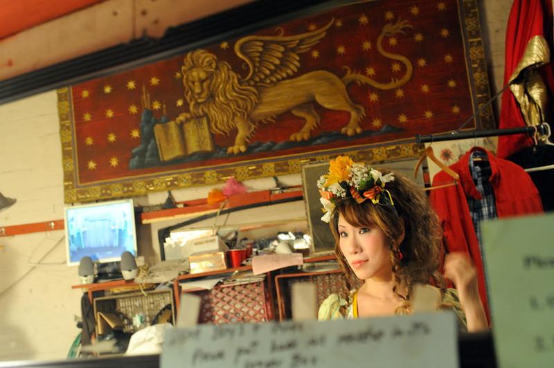 Deborah Dee at make-up.<br /> Amato Opera Theatre, New York City<br /> © Laura Razzano