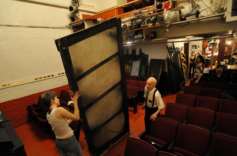 AAmato Opera Theatre, New York City.<br /> © Laura Razzano<br /> <br /> Maestro Anthony Amato directs the strike of the sets of the Boheme to change for the Marriage of Figaro, last production after 61 years.