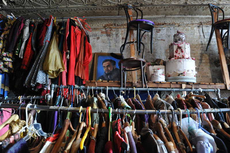 The magical top 4th floor of the white building of the Amato Opera, at 319 Bowery. Here all the costumes and props are kept, many of which have been painted and created by scenographer Richard Cerullo while other have been donated by the Metropolitan Opera Theatre.<br /> Amato Opera Theatre, New York City<br /> © Laura Razzano