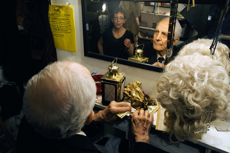 Amato Opera Theatre, NY.<br /> © Laura Razzano<br /> <br /> (L-R) Rineke Akkerhuis, costume designer and maestro Tony Amato backstage.