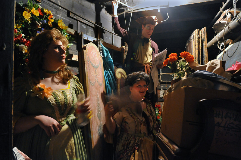 (L-R) Aliyzon Hull is Susanna, Eve Edwards is the Countess, Daniel Rothstein is Antonio, backstage at the Amato Opera Theatre.<br /> Amato Opera Theatre, New York City.<br /> © Laura Razzano