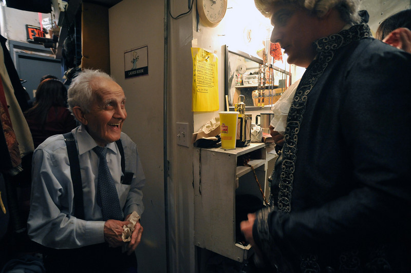 Maestro Tony Amato and Jerry Kronberg  backstage during intermissions at The Marriage of Figaro.<br /> Amato Opera Theatre, New York City.<br /> © Laura Razzano