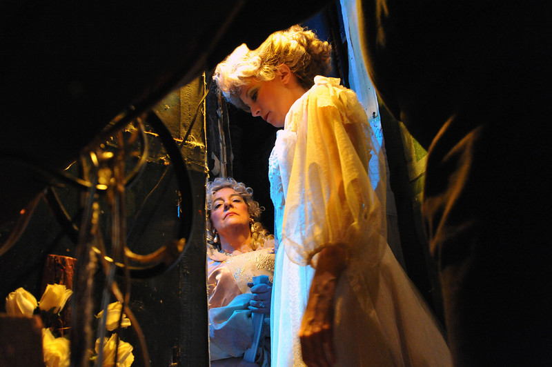 Amato Opera Theatre, New York City.<br /> © Laura Razzano<br /> <br /> (R-L) Rochelle Mancini is the Countess and  Alice Heatherington is Susanna, backstage at the Amato Opera Theatre.