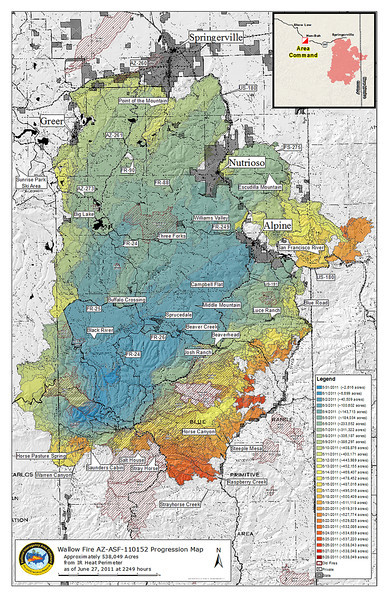 Wallow Fire progression map (Jun 2011, Copyright U.S. Forest Service)