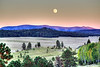 Moonrise over sunset on Escudilla Mountain from hill above Crosby Crossing (Oct 2011, HDR)