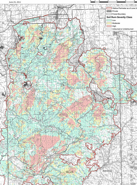 Wallow Fire burn severity map (Jun 2011, Copyright U.S. Forest Service)