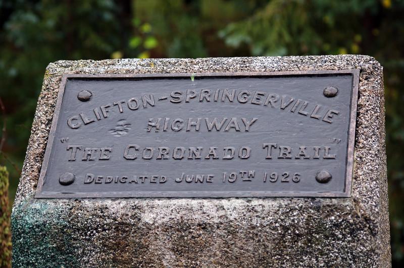 Highway marker near Hannagan Meadow, Apache National Forest, AZ (Oct 2014)