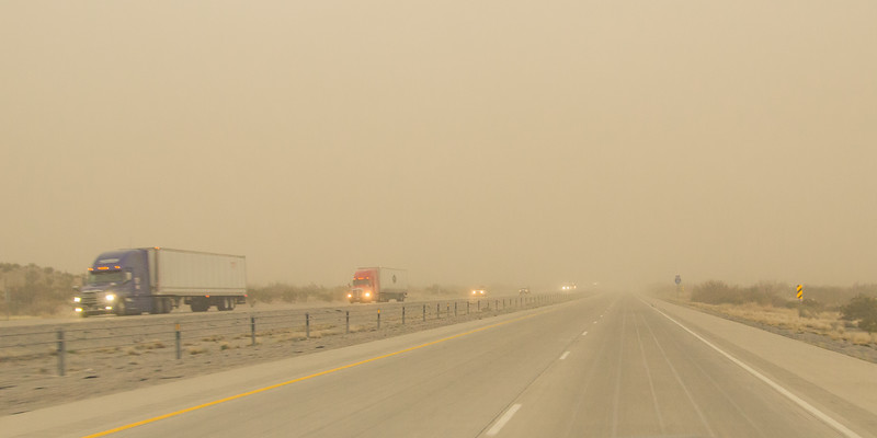 Dusty driving on I-10, west winds 20-50 mph, NM (Feb 2019)