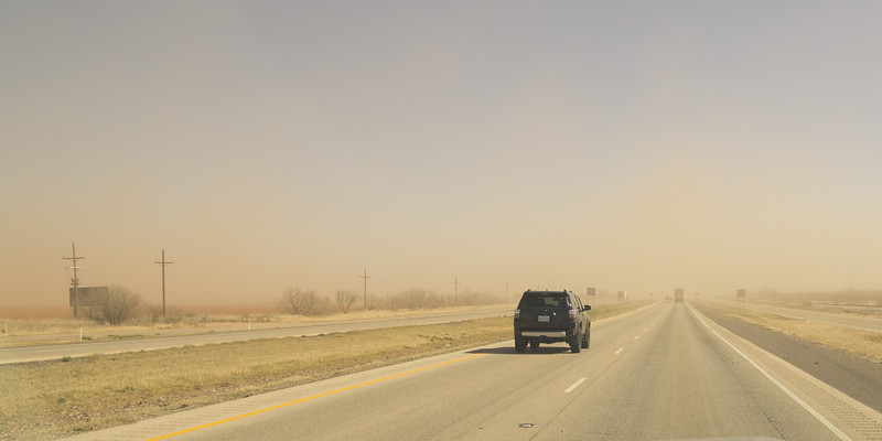 Dusty driving on I-10, west winds 20-50 mph, west TX (Feb 2019)