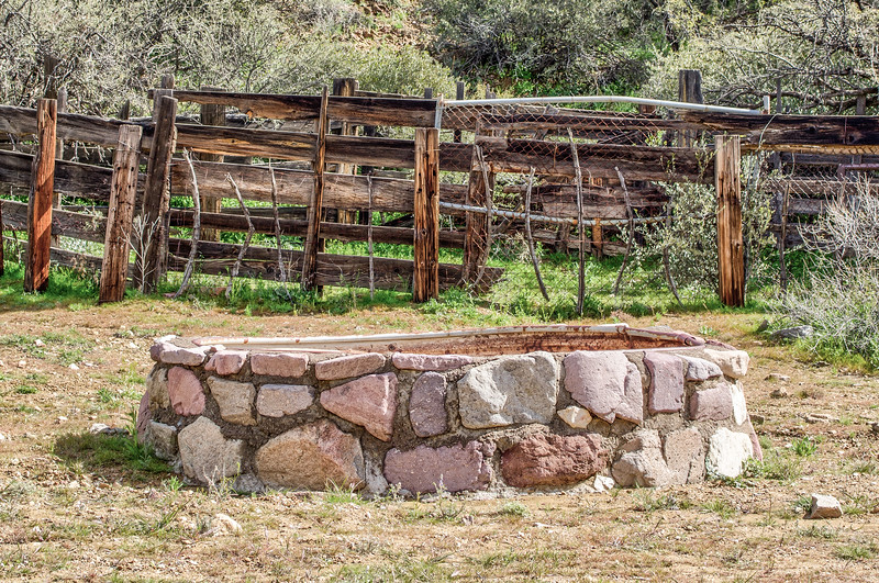 Water tank by cattle chute, Castle Hot Springs road, AZ (Feb 2019)