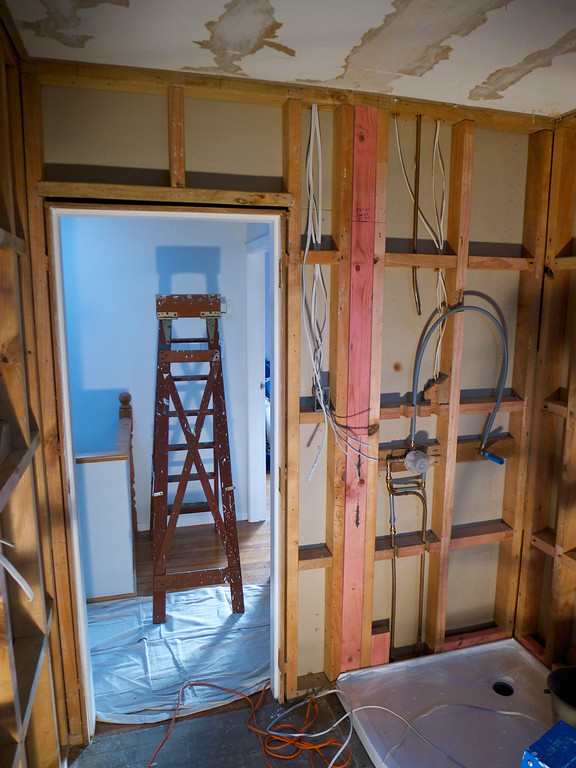 Old bathroom removed, framing prepared before fitting new linings