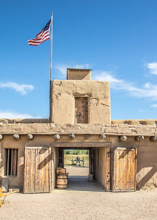 Front entrance from inside fort (canon outside), Bent's Old Fort, CO (Sep 2018)