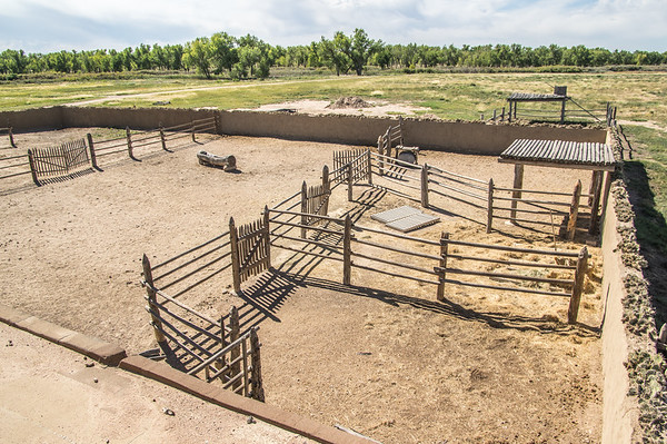 The corral from the second story (note the cacti planted atop the wall), Bent's Old Fort, CO (Sep 2018)