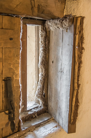 Window lined with insulating buffalo hide, Bent's Old Fort, CO (Sep 2018)
