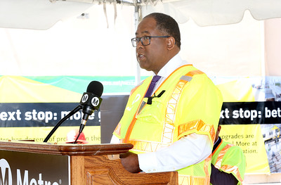 County Supervisor and Metro Board Member Mark Ridley-Thomas at Willowbrook/Rosa Parks Station Improvement Project launch event, Aug. 23, 2018
