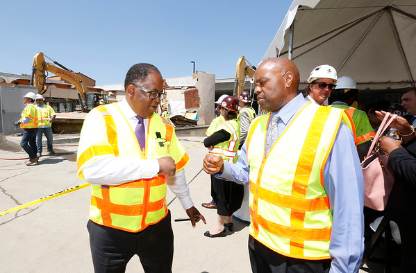 County Supervisor Mark Ridley-Thomas and Metro CEO Phil Washington at Willowbrook/Rosa Parks Station Improvement Project launch event, Aug. 23, 2018