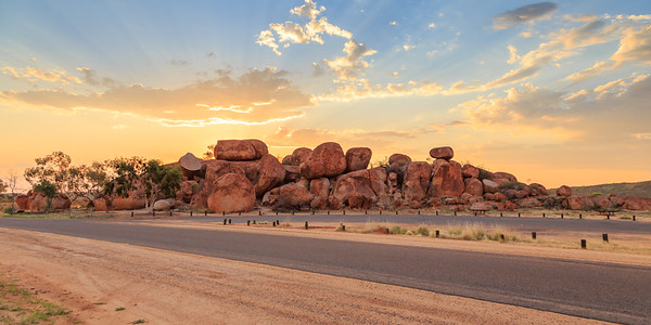 Sunset Over the Devils Marbles