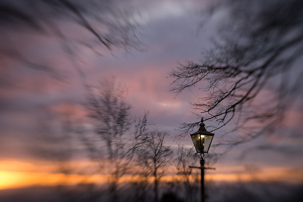 Sunrise behind the gas lamp