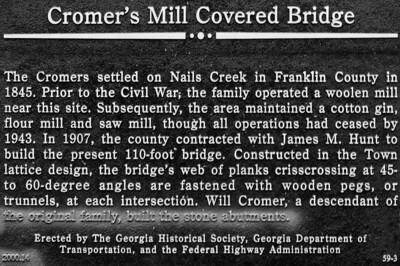 Cromer's Mill Bridge Sign - Commerce, GA