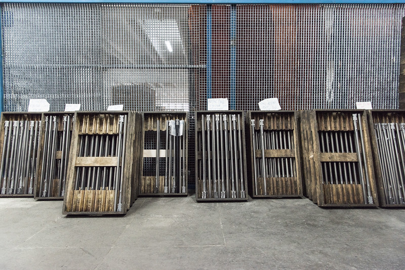 February, 2018 – Val Trompia, Italy. Shotgun barrels are parked prior to assembly of a F.A.I.R. over/under.