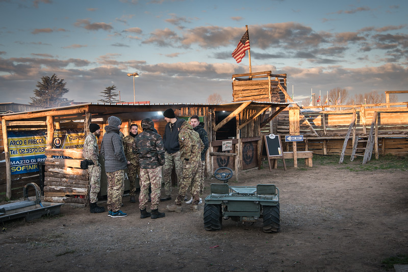 "December 10, 2017 Airsoft players waiting for the beginning of the ""battle"" at Campo Praesidium, the largest field dedicated to Airsoft in Europe, nearby Nettuno (Italy). Airsoft is a team shooting sport that simulates military tactics using replica weapons. It is estimated that in Italy there are over 50 thousand ""Sunday soldiers""."