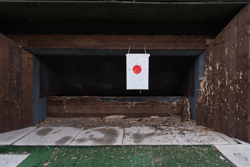 February 21, 2018  Shooting range in the Italian Shooting Federation nearby Gardone Val Trompia, Italy. Gardone, a small town of 10,000 inhabitants in the Northern Italy, is considered the major arm manufacturing district in Italy, Europe and in the world. Here is manufactured 70% of the light and sporting weapons produced in the EU, with Beretta being the flagship in this sector.