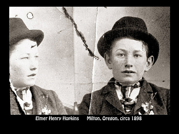Elmer Hopkins as a young boy in a hat, Milton, Oregon in about 1898.