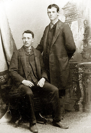 Raleigh Jackson Gray and his cousin Sam Chaney, about 1890, probably in Palouse, Washington.